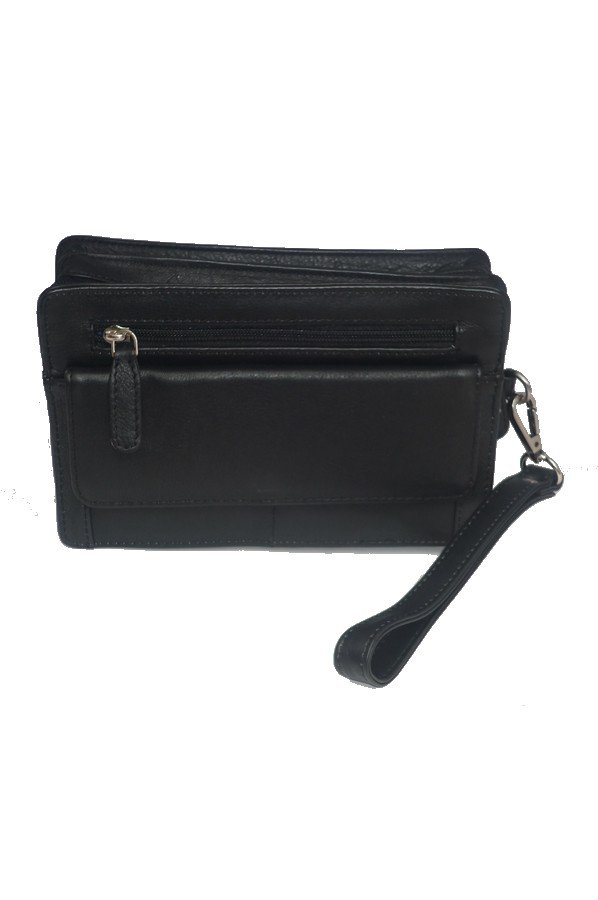 1x Removable Wristlet Strap 2x Zip sections 1x external back zip pocket 1x mobile phone slip pocket 1x front zip pocket 1x front flapover pocket with magnetic closure and space for 6x cards Approx Dimensions: 21 x 13 x 8cm 871