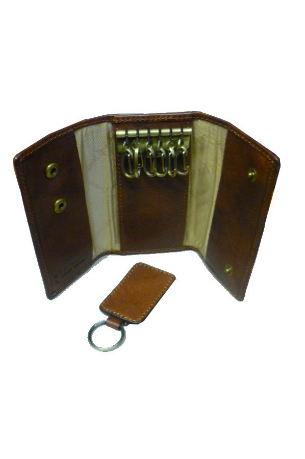 GIANNI CONTI LEATHER KEY CASE WITH REMOVABLE KEYRING 919707 dark Brown