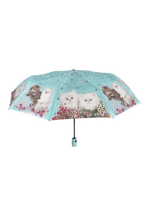 Perletti Cute Cat Folding Umbrella in Green 25906A