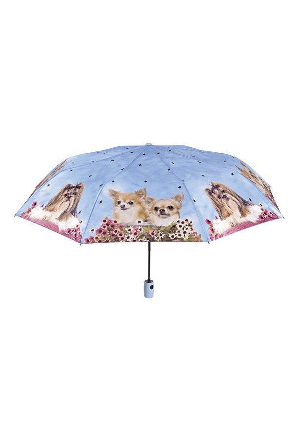 Perletti Cute Dog Folding Umbrella in Lilac/Blue 25906B