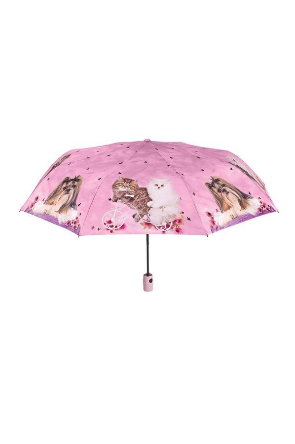 Perletti Cute Cat Folding Umbrella in Pink 25906c