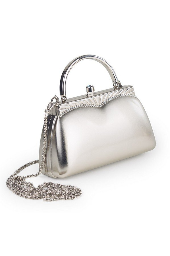 Small Diamante Metal Bag | Silver | 90409