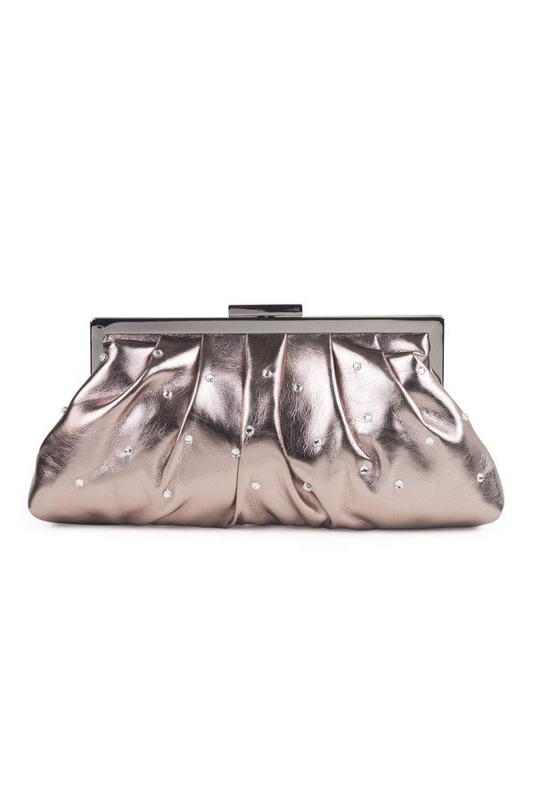 Soft Pleated Diamante Evening Bag | 90502 Pewter