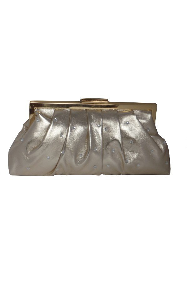Soft Pleated Diamante Evening Bag | 90502 | Gold