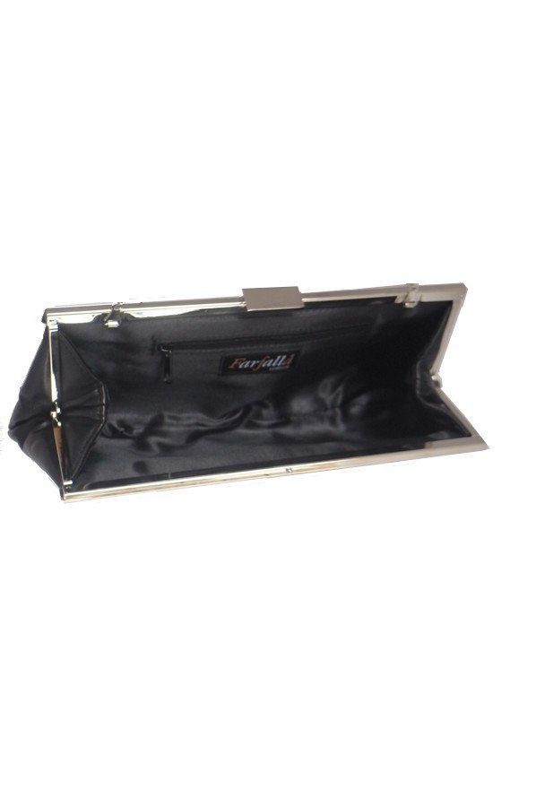 Pleated Evening Bag with Metal frame | Black
