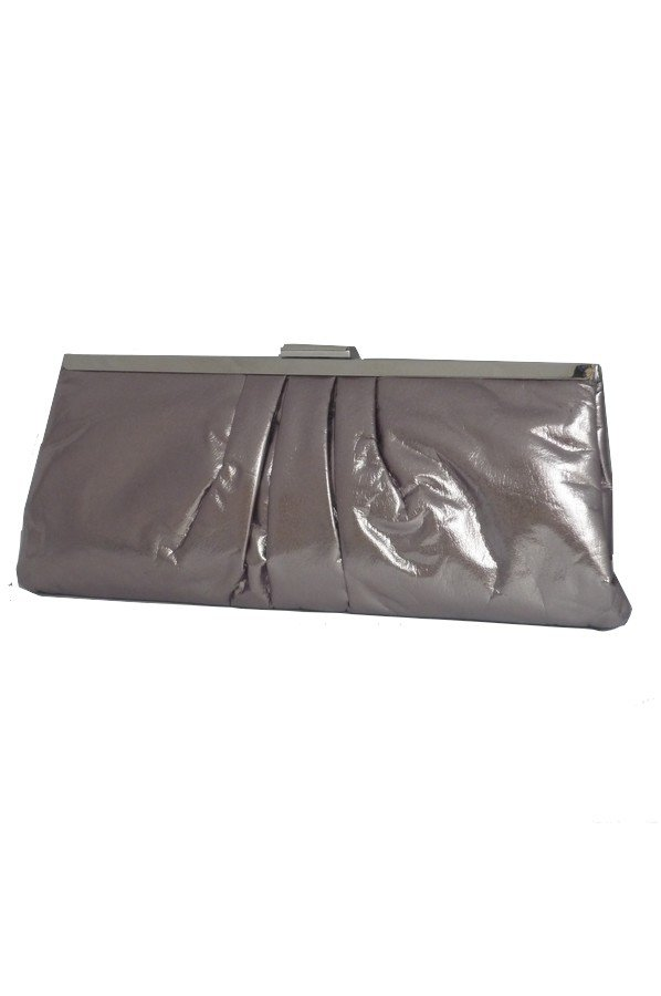 Pleated Evening Bag with Metal frame | pewter