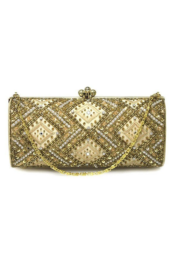 Diamante Sparkle Evening Frame Bag | 90566 | Gold