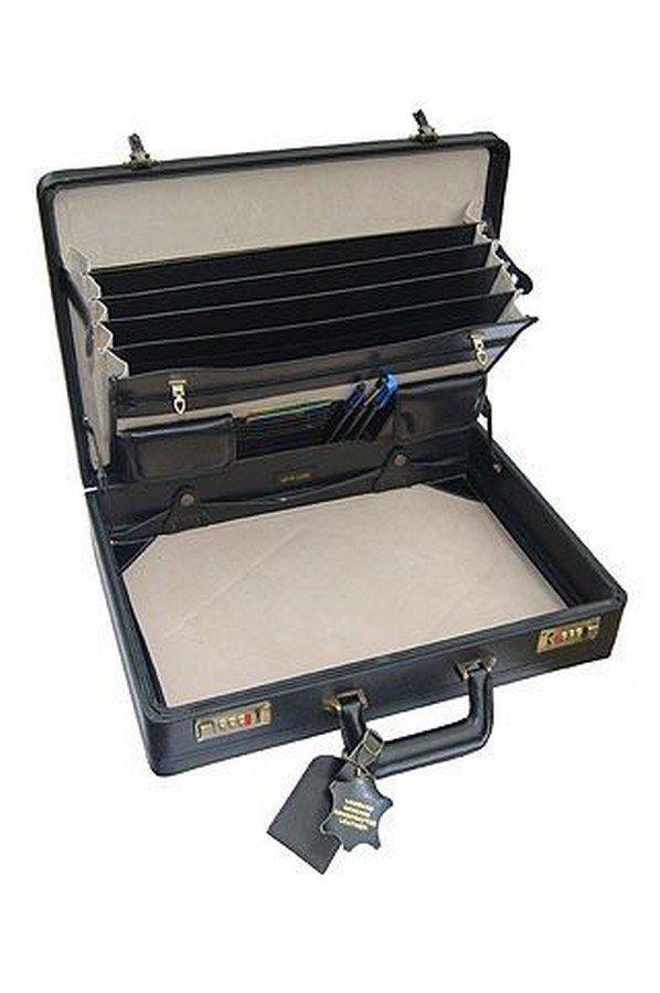 TassiaLeather Expanding Attache Case in Black | 5261